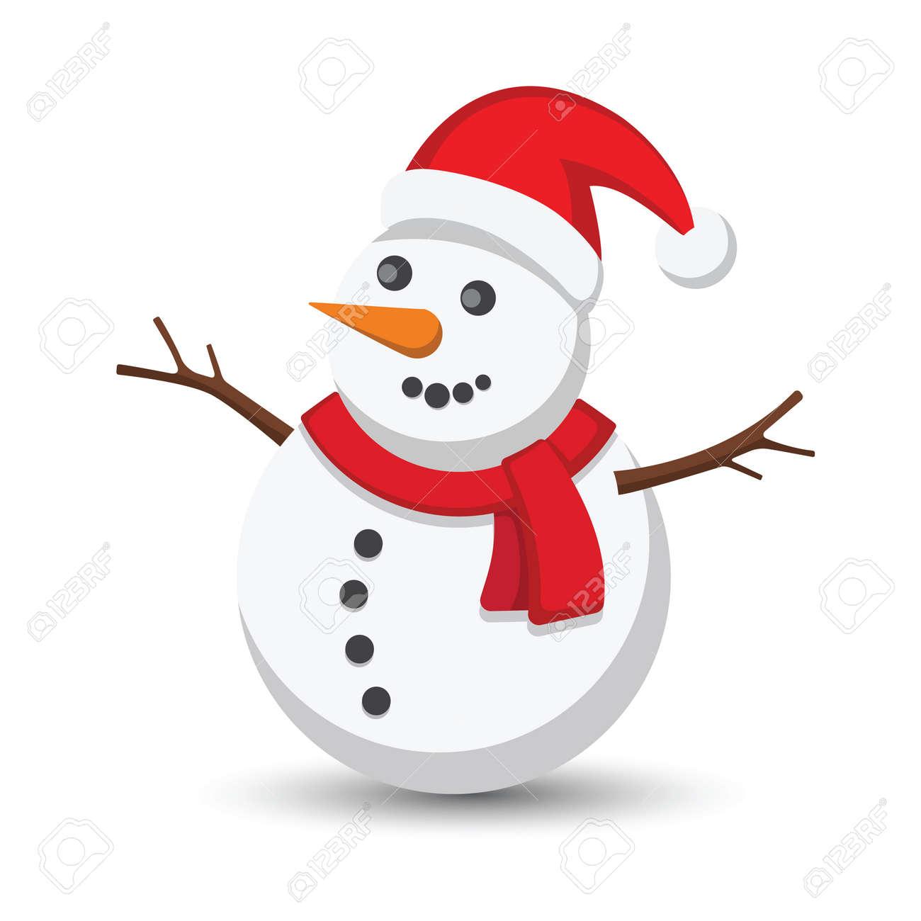 Snowman vector illustration on white background Stock Vector - 47791581