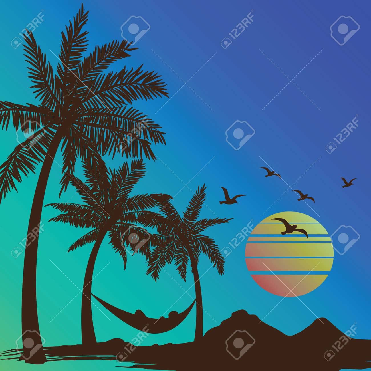 summer vacation on tropical beach Sunset with Palm trees background ,vector illustration Stock Vector - 49008150