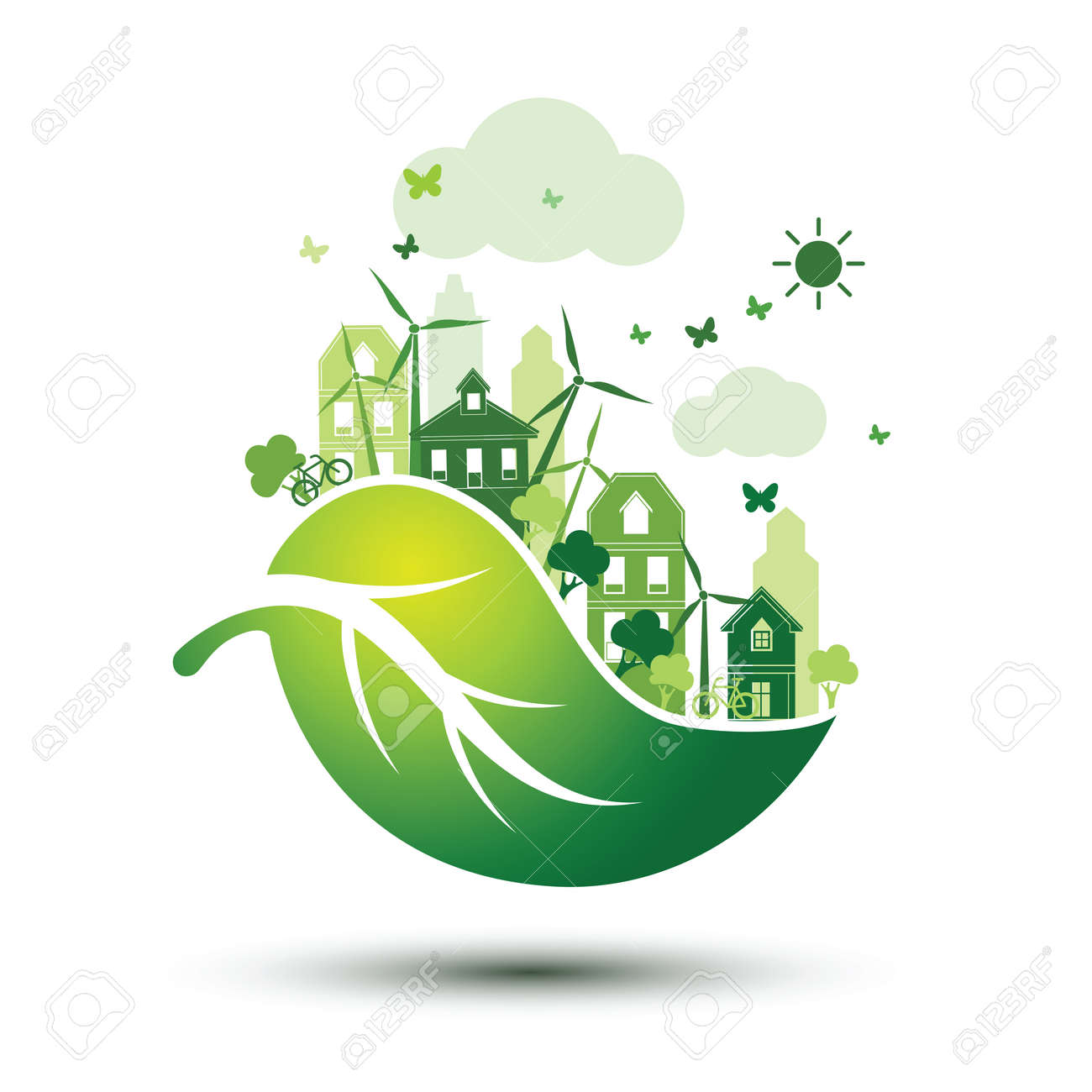 green city with green Eco leaves concept ,illustration - 51549139