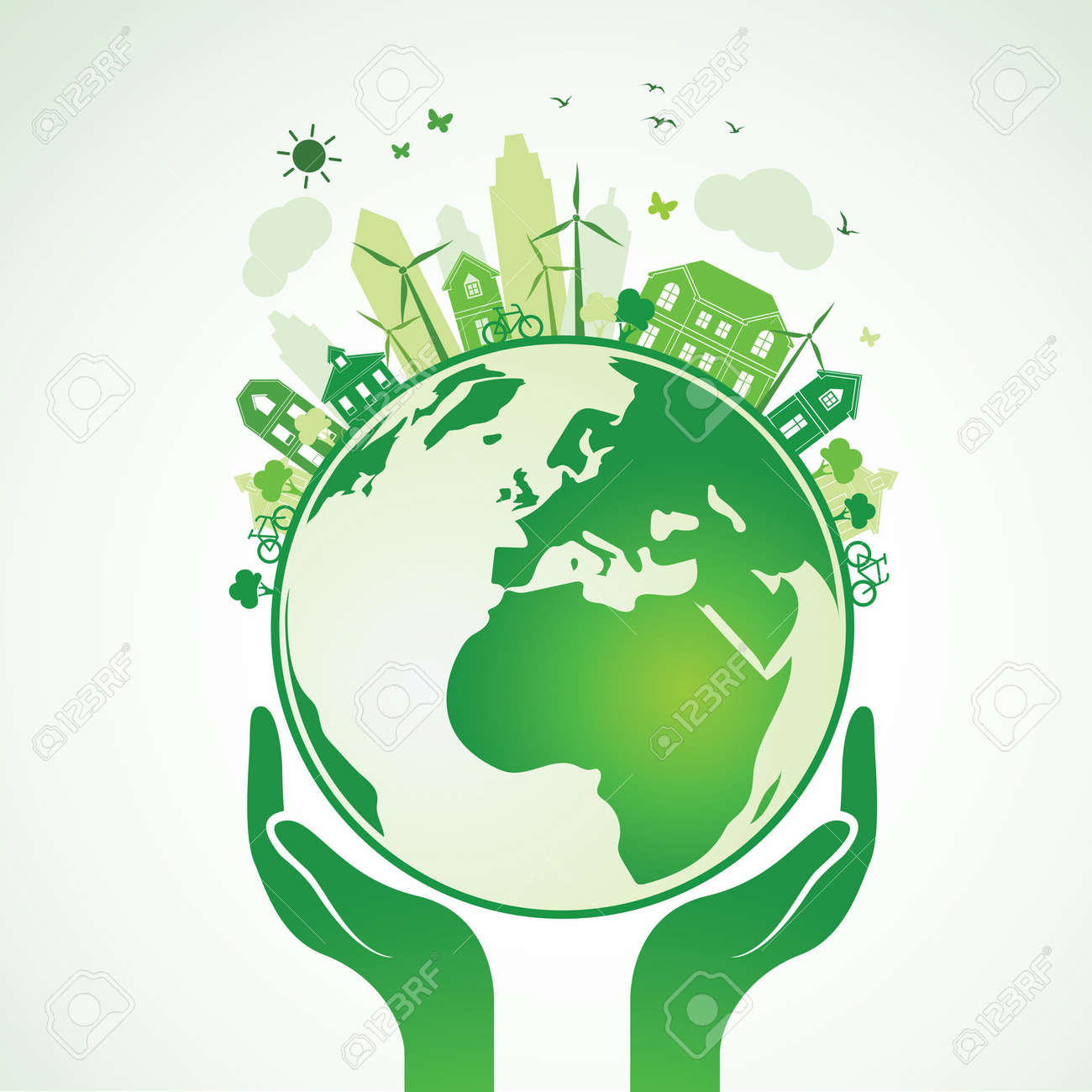 Hands Holding The Green Earth Globe with city ,Illustration Stock Vector - 51549143