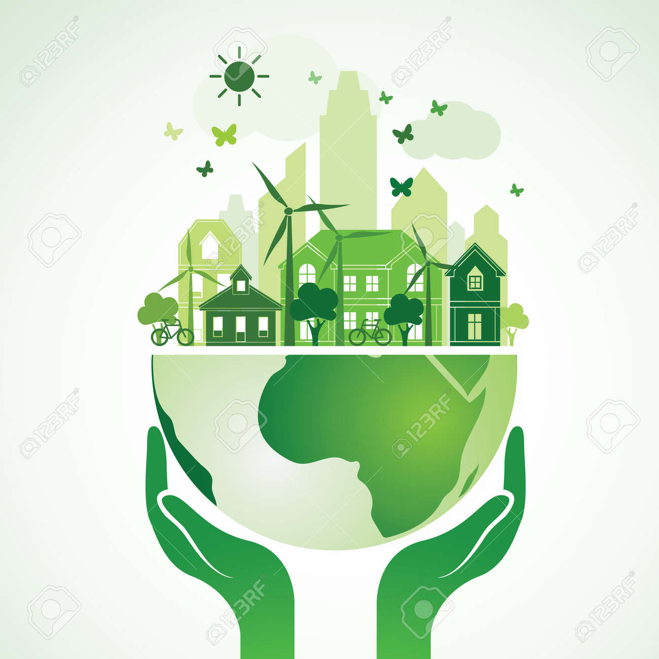 Hands Holding The Green Earth Globe with city ,Vector Illustration - 53007445