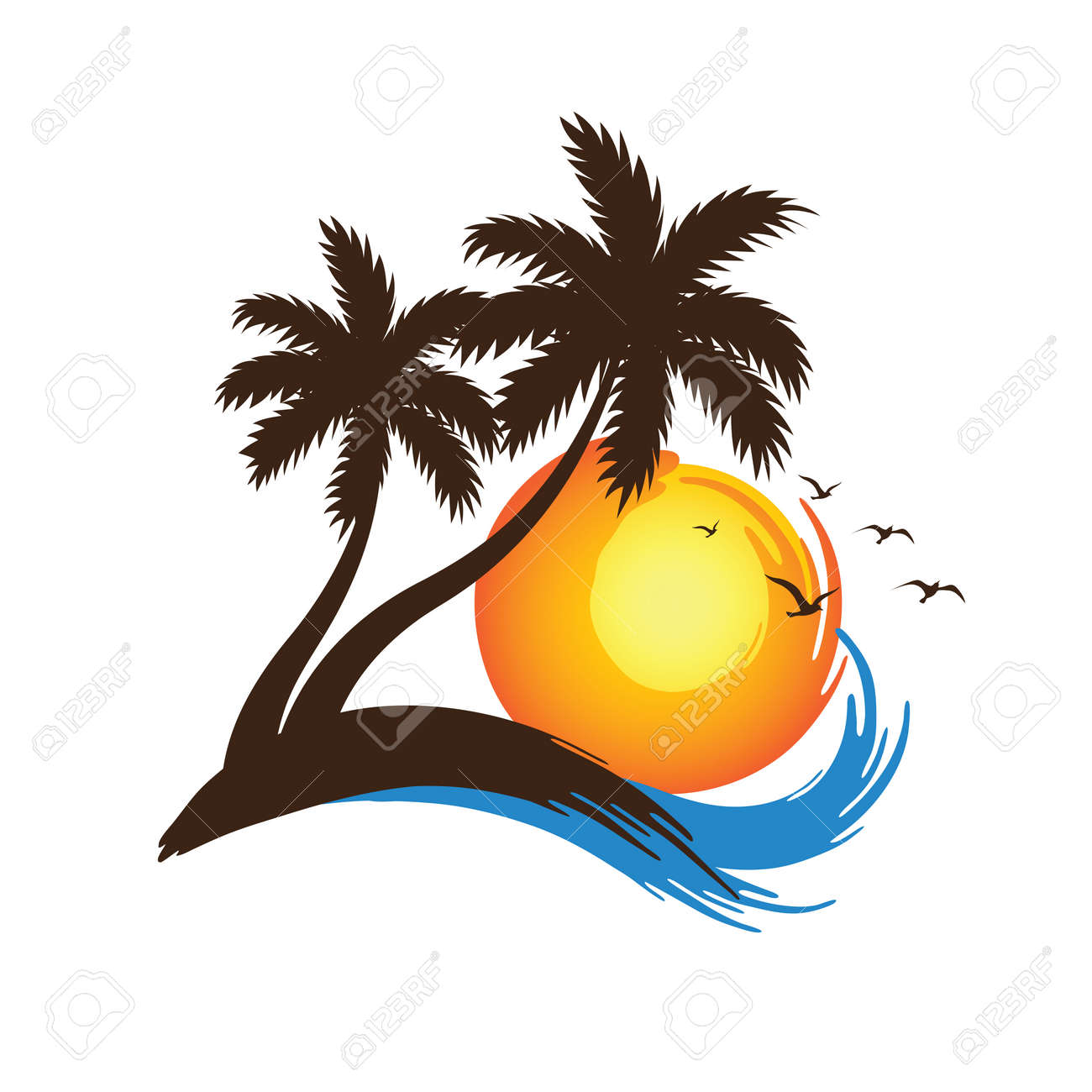 Tropical palm trees silhouettes with Sunset ,vector illustration - 53007452