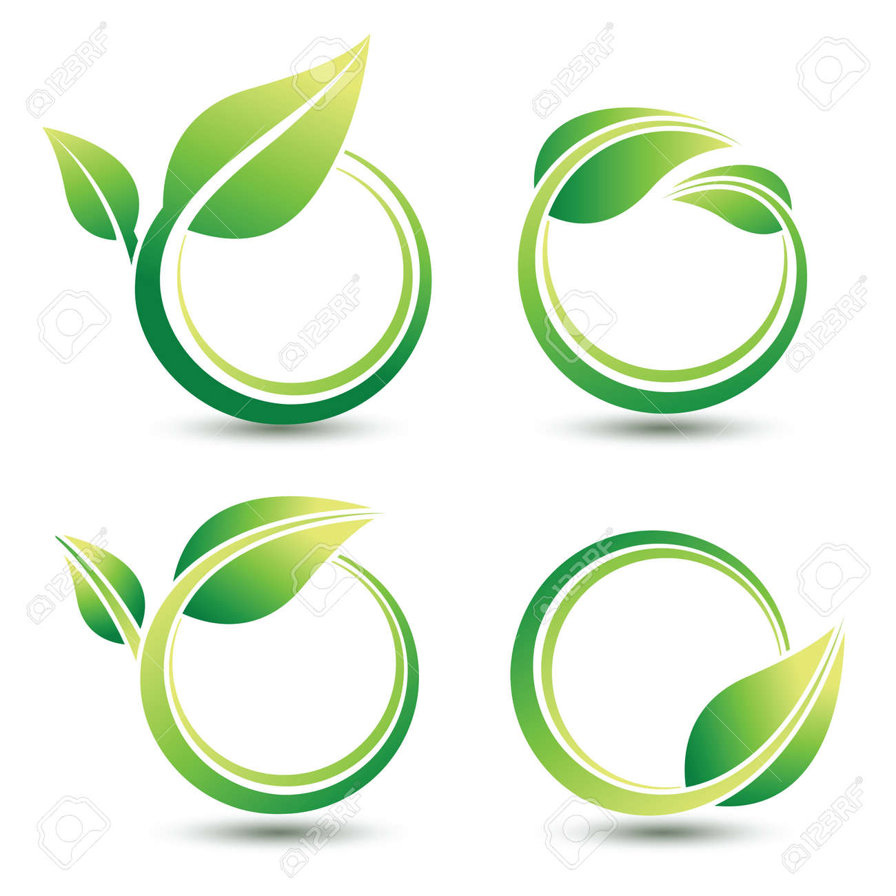 Green labels concept with leaves,illustration - 53375239
