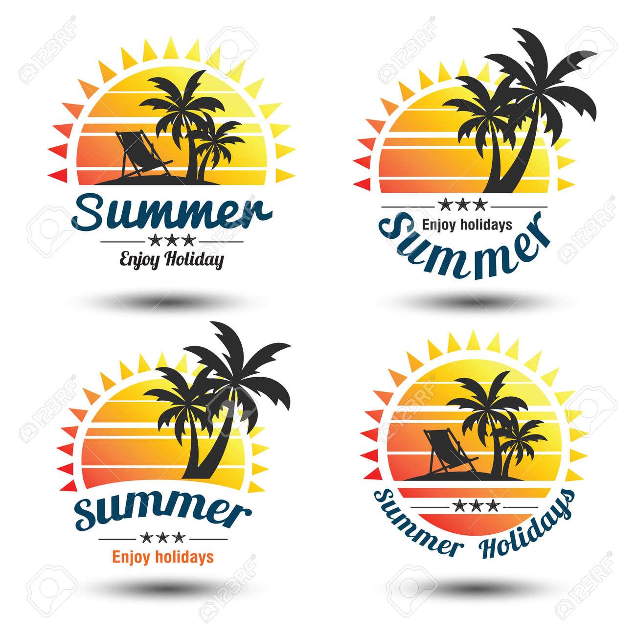 Summer holidays design elements set. Retro and vintage templates. Labels, Badges,emblem,vector illustration Stock Vector - 53441008