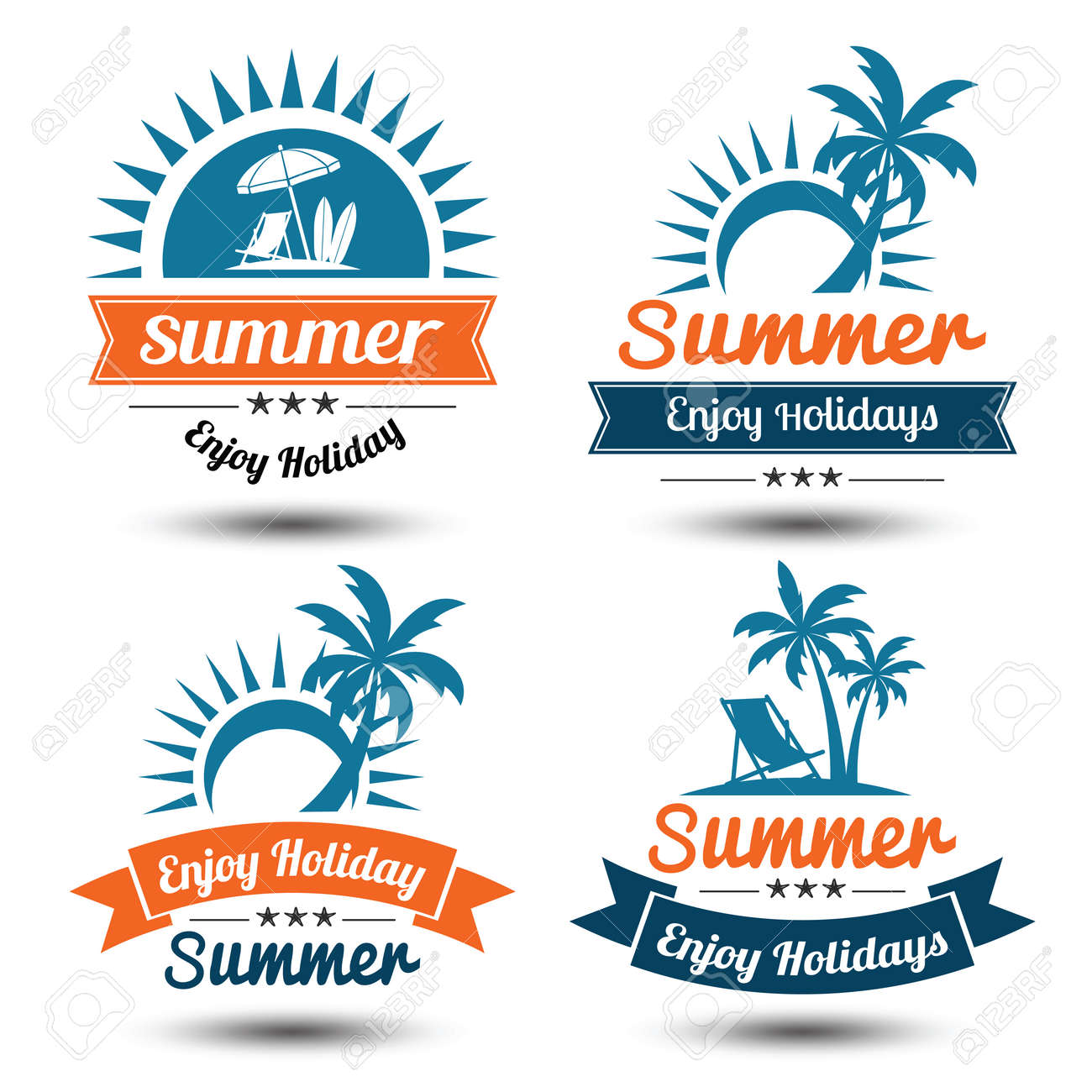 summer holidays design elements set retro and vintage templates labels badgesemblem