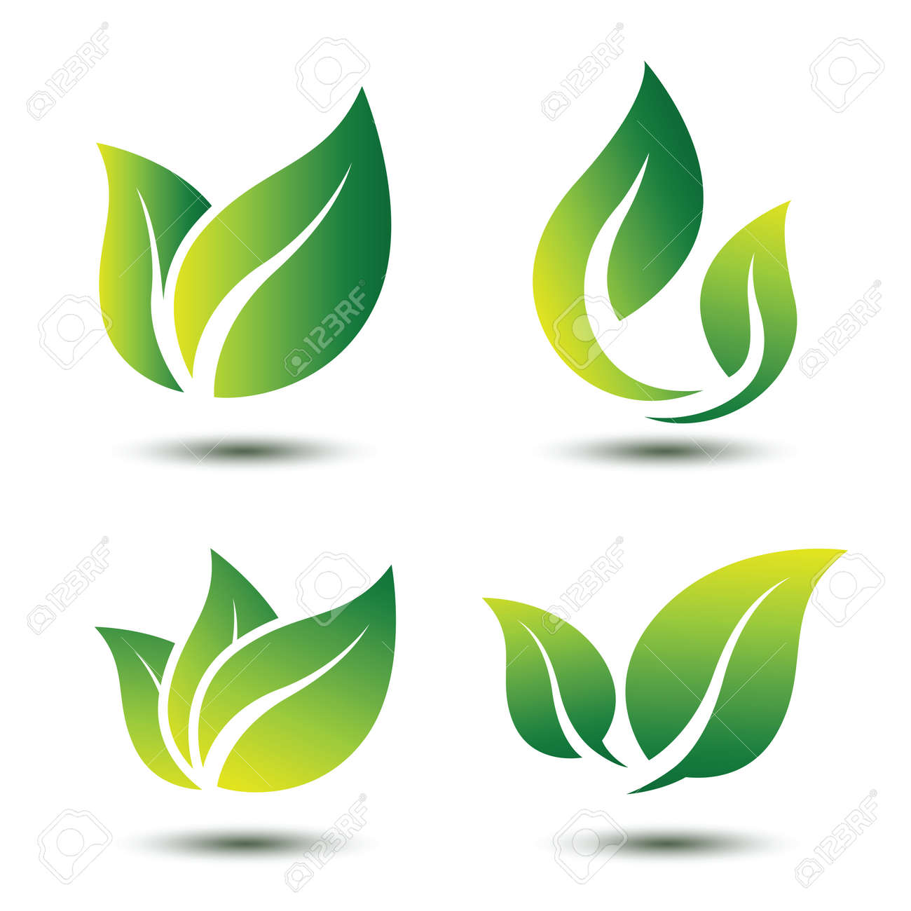 Green leaf eco symbol set Stock Vector - 54571743