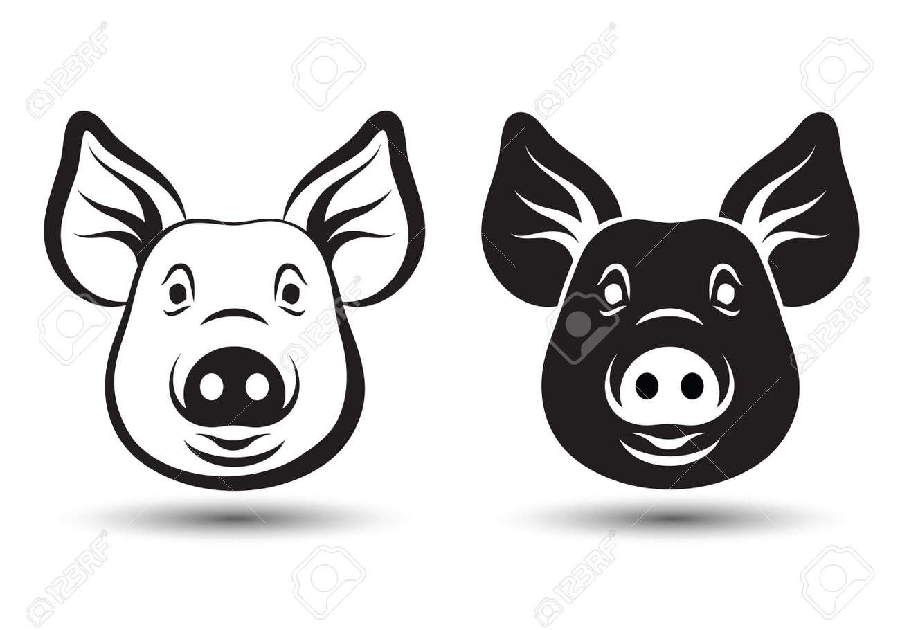 Imagen De La Silueta Cara Del Cerdo Y Del Diseño Del Dibujo Sobre ...