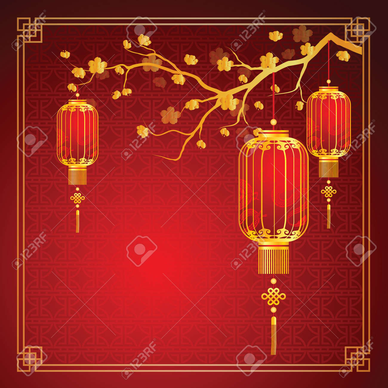 cherry blossom template with chinese lantern in chinese frame