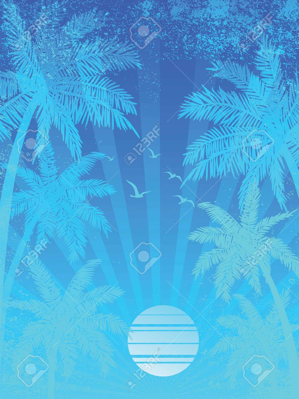 夏の休暇の夕日背景、ヤシの木が、ベクトル イラスト ロイヤリティフリー