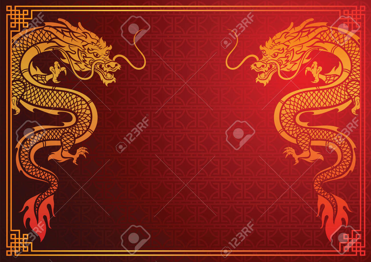 Ancient Chinese Traditional Template With Chinese Dragon On Red