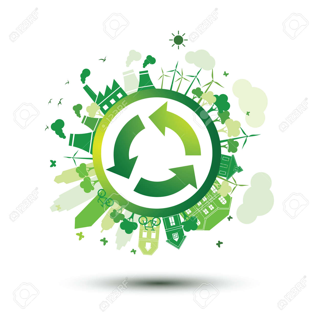 Green city sustainable nature concept with recycle logo,vector illustration Stock Vector - 74911084