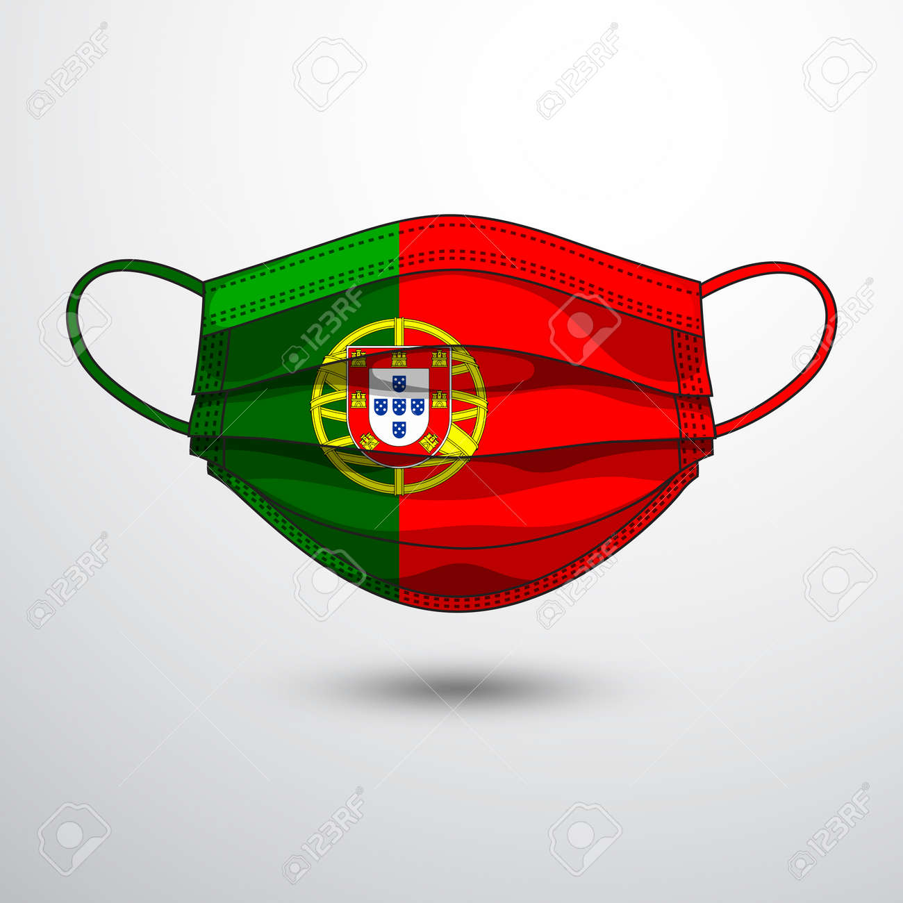 Medical Mask With National Flag Of Portugal As Icon On White... Royalty  Free Cliparts, Vectors, And Stock Illustration. Image 144132400.