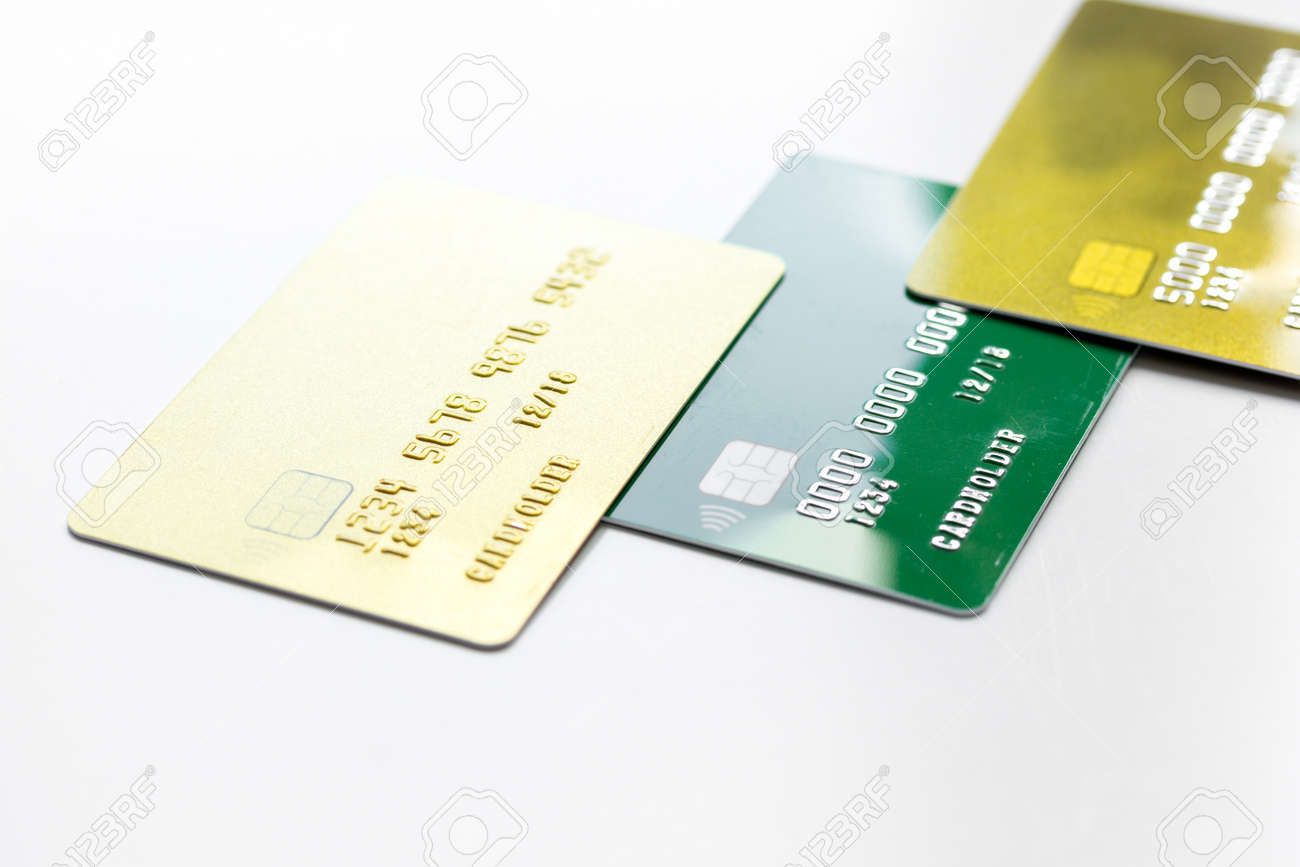 Payment Composition With Business Credit Cards At Work Place.. Stock ...