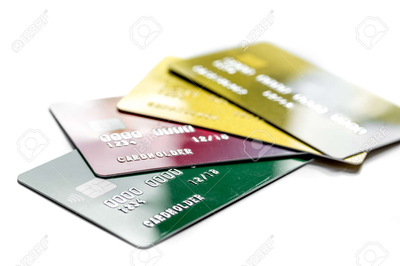 Payment Composition With Business Credit Cards At Office Work ...