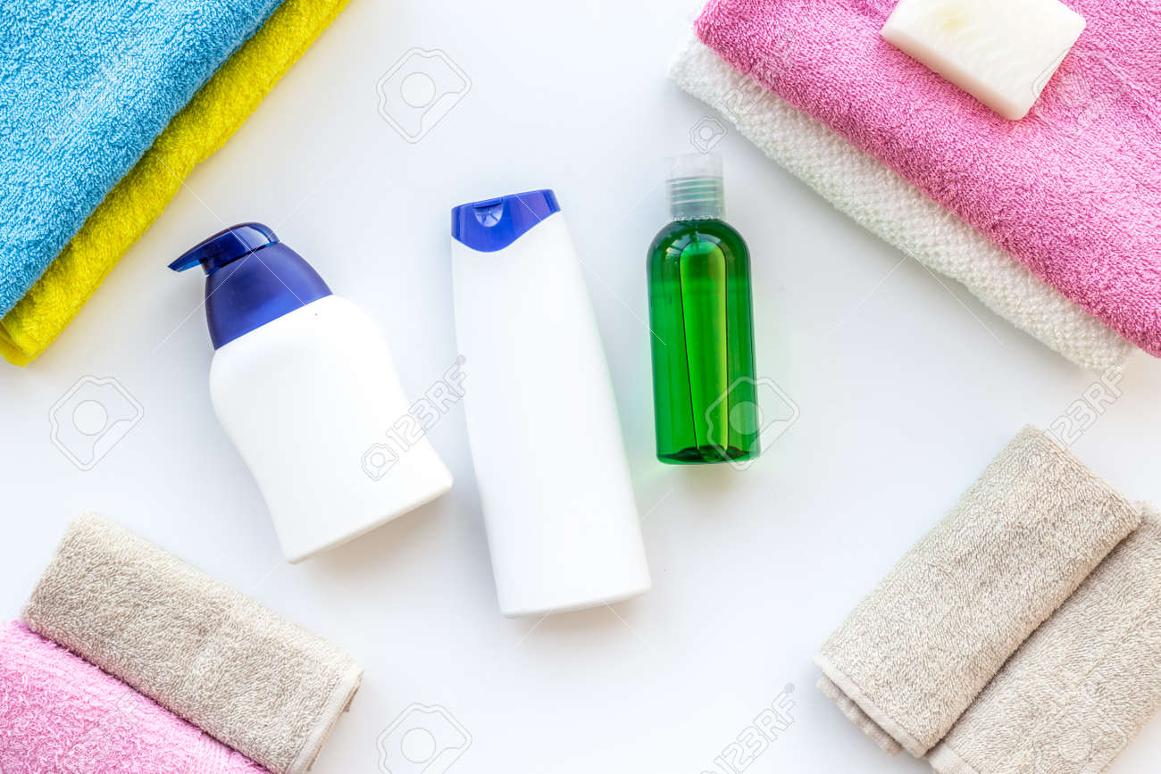 Bath Accessories. Towels, Soap, Shampoo On White Background Top ...