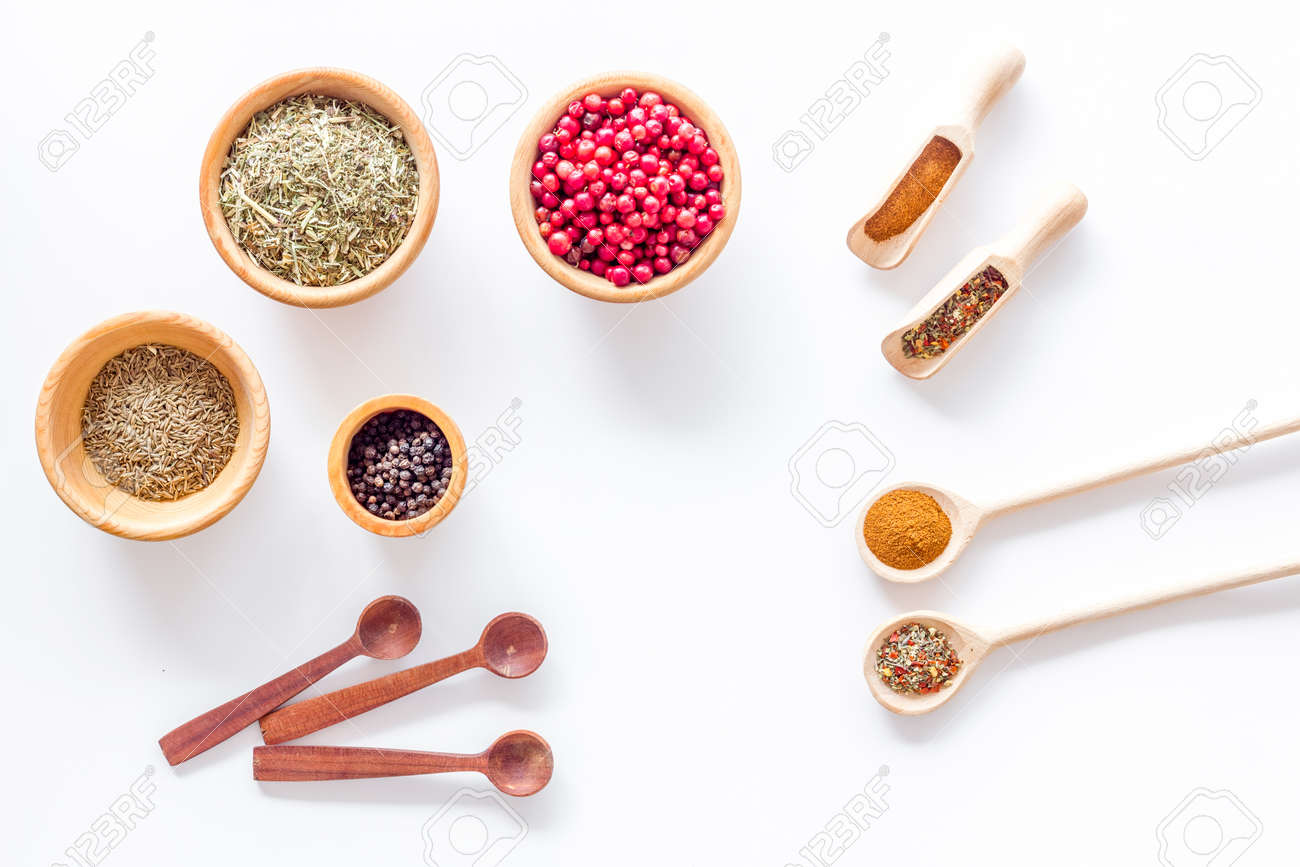 Kitchen Table With Spices And Dry Herbs On White Kitchen Desk ...