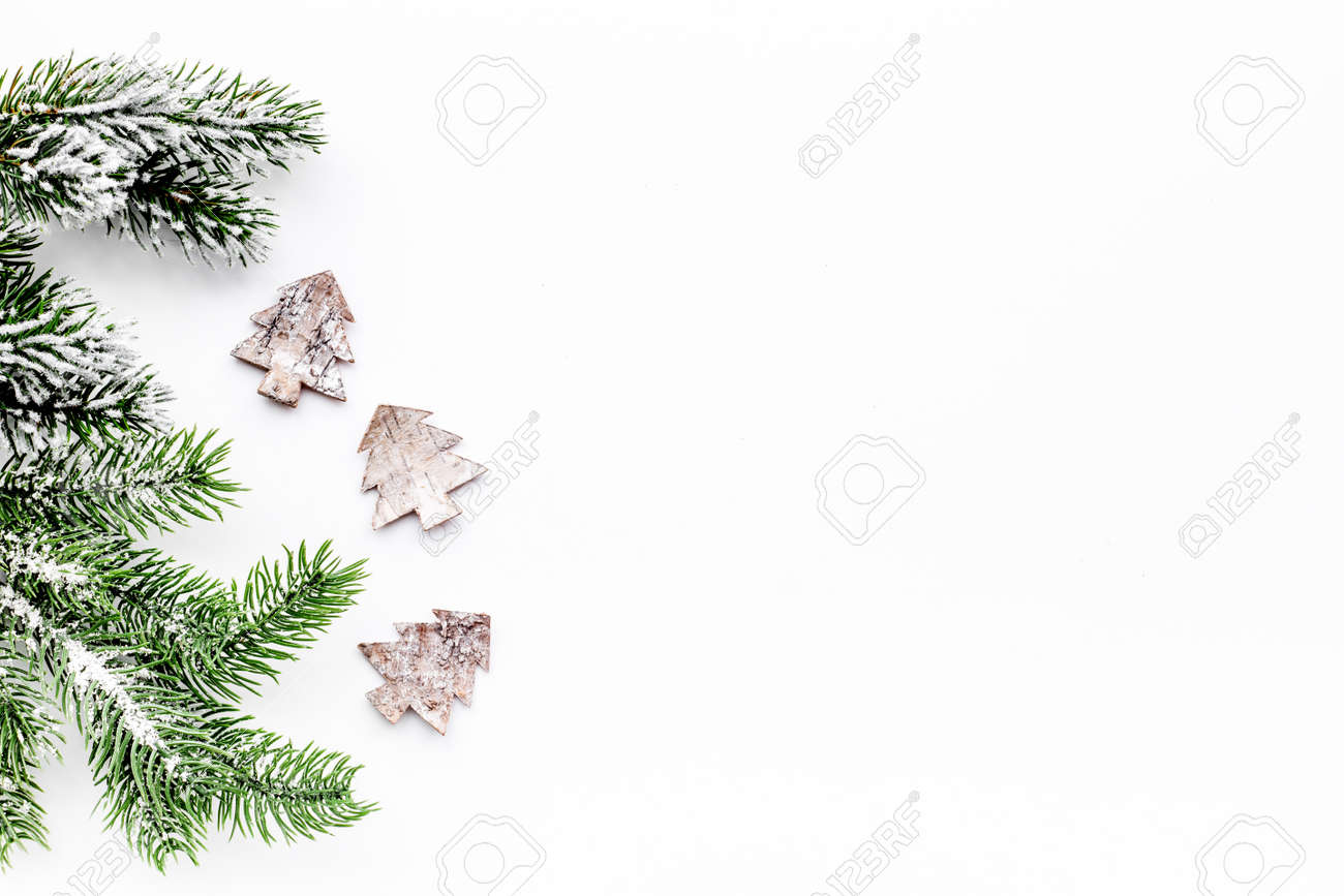 Christmas Eve Set With Spruce Branches And Fur Tree Toys On White ...
