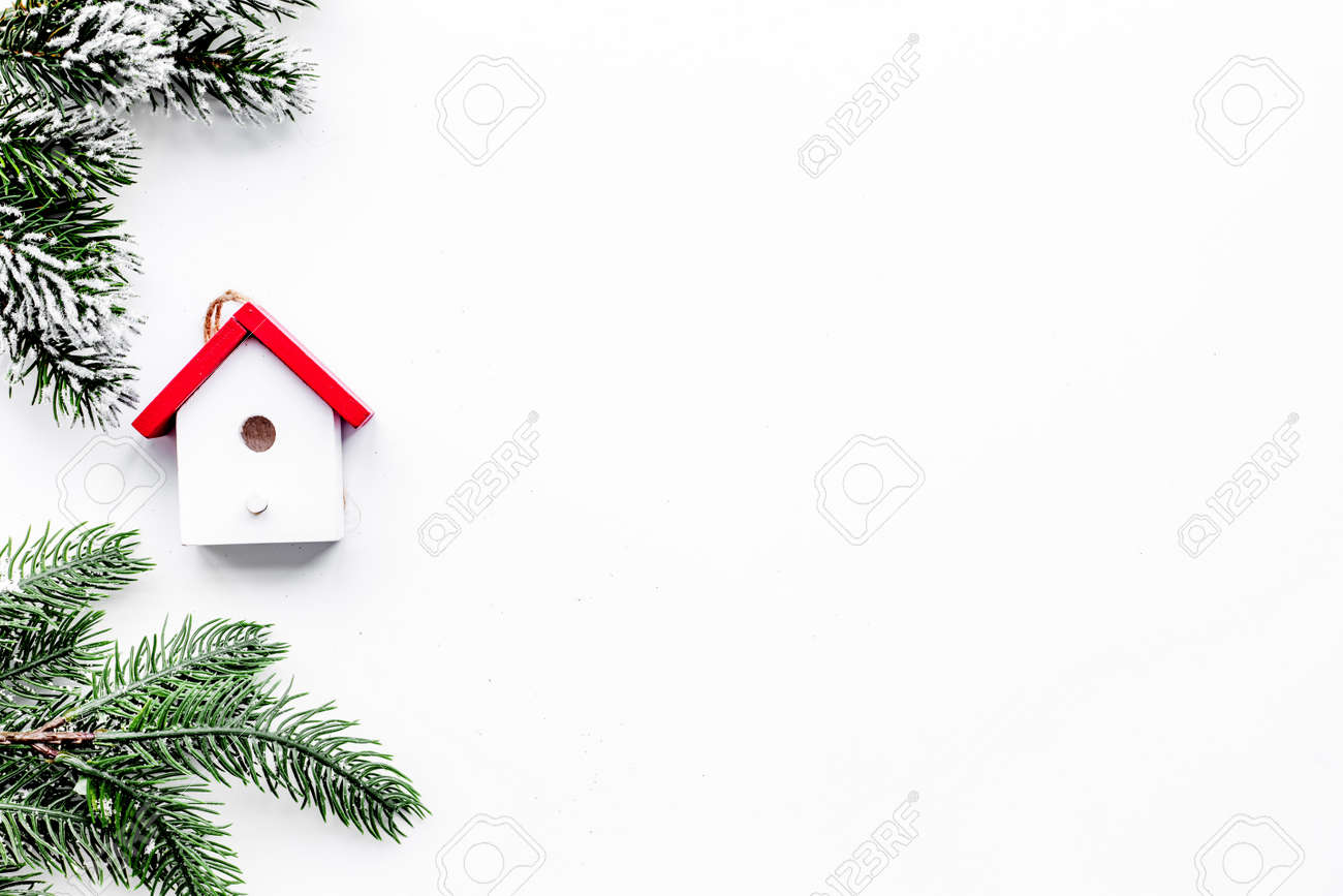 New Year 2018 Greeting With Spruce Branches And Decorations With