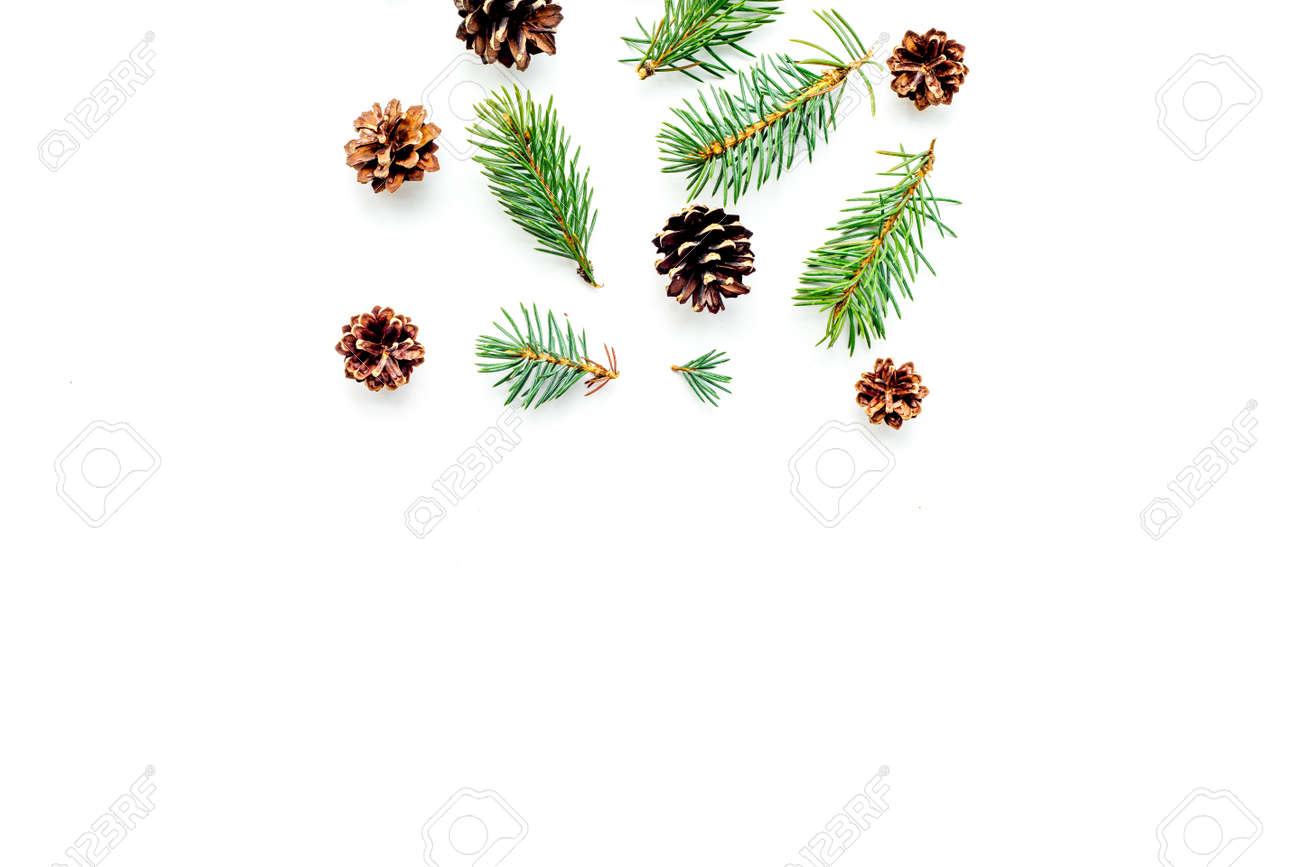 New Year Symbols Pattern Spruce Branches And Cones On White Stock