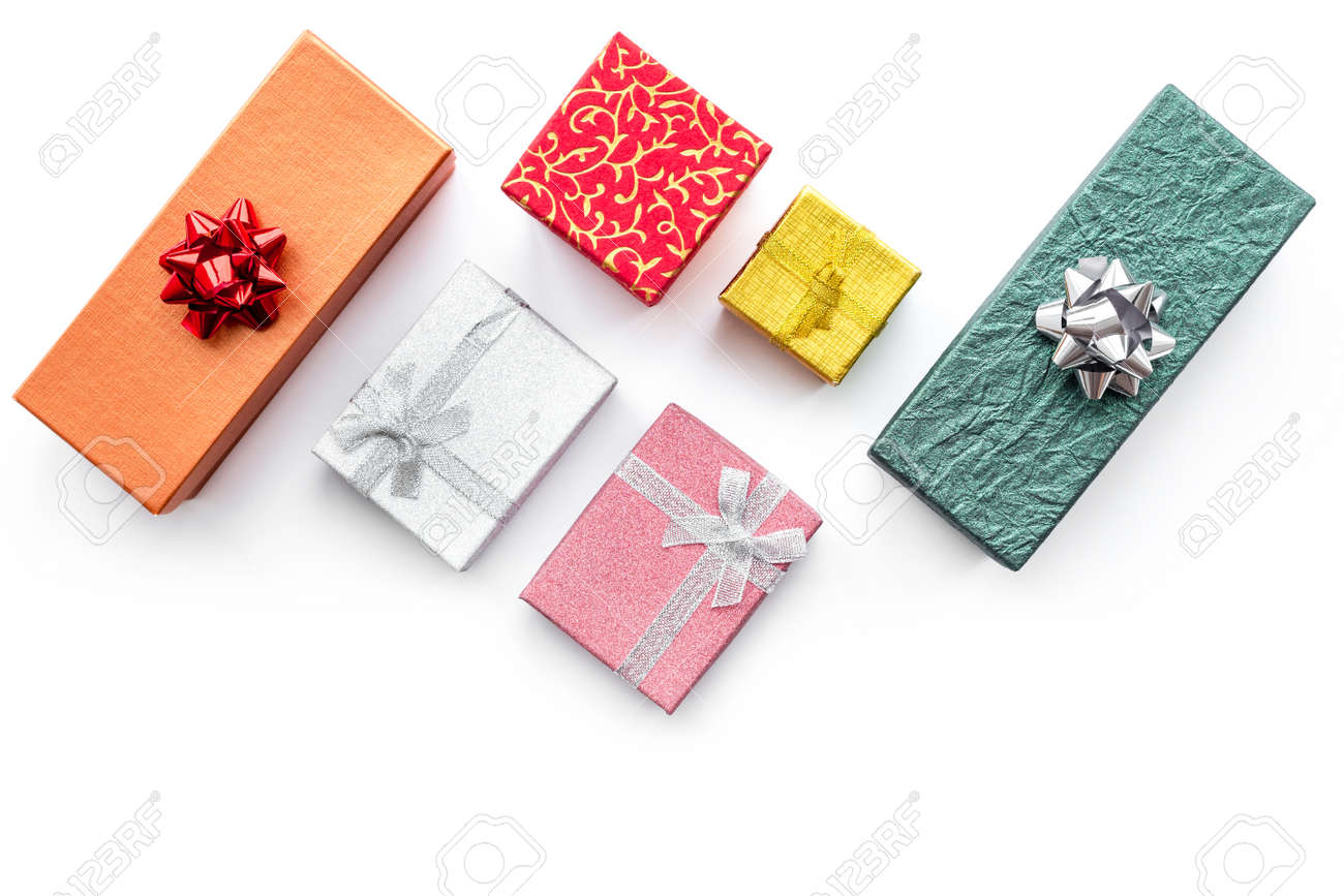 Cyber monday sales with boxes for christmas gifts on white desk background top view mock up - 88670300