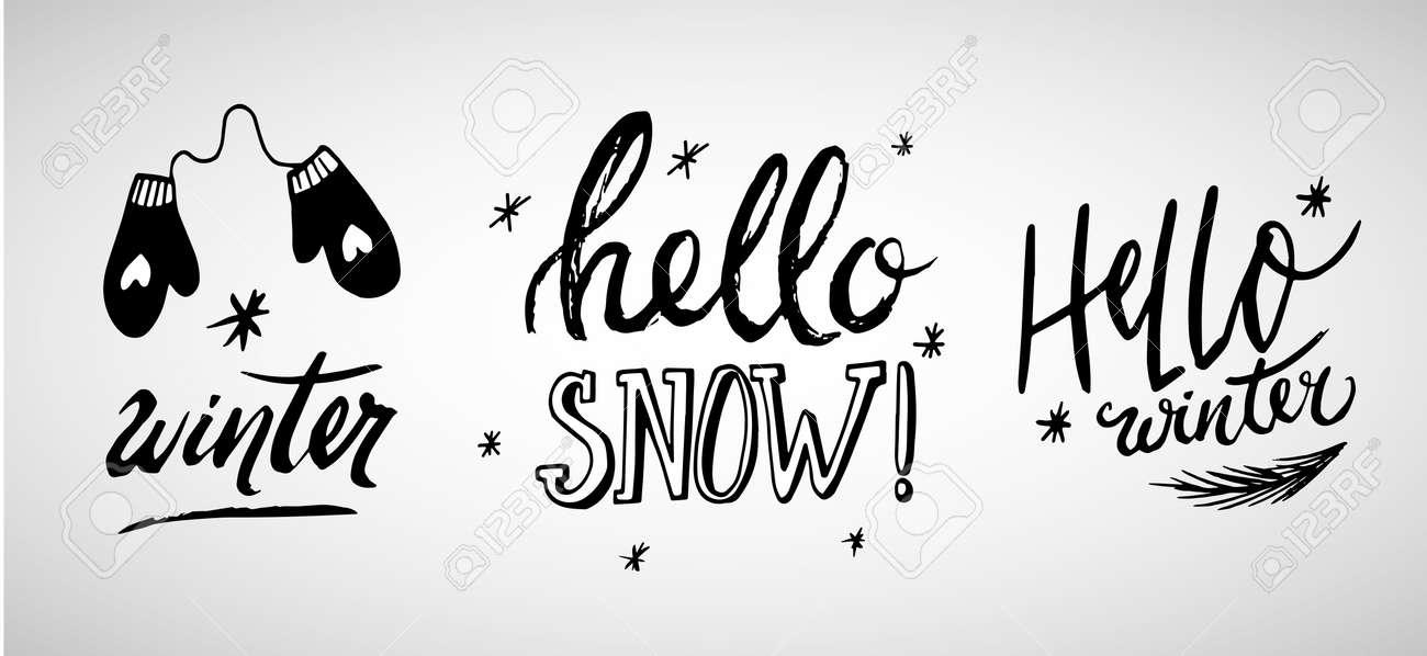 冬フレーズ 手の文字ベクトル イラストのセット手書きのインク引用符