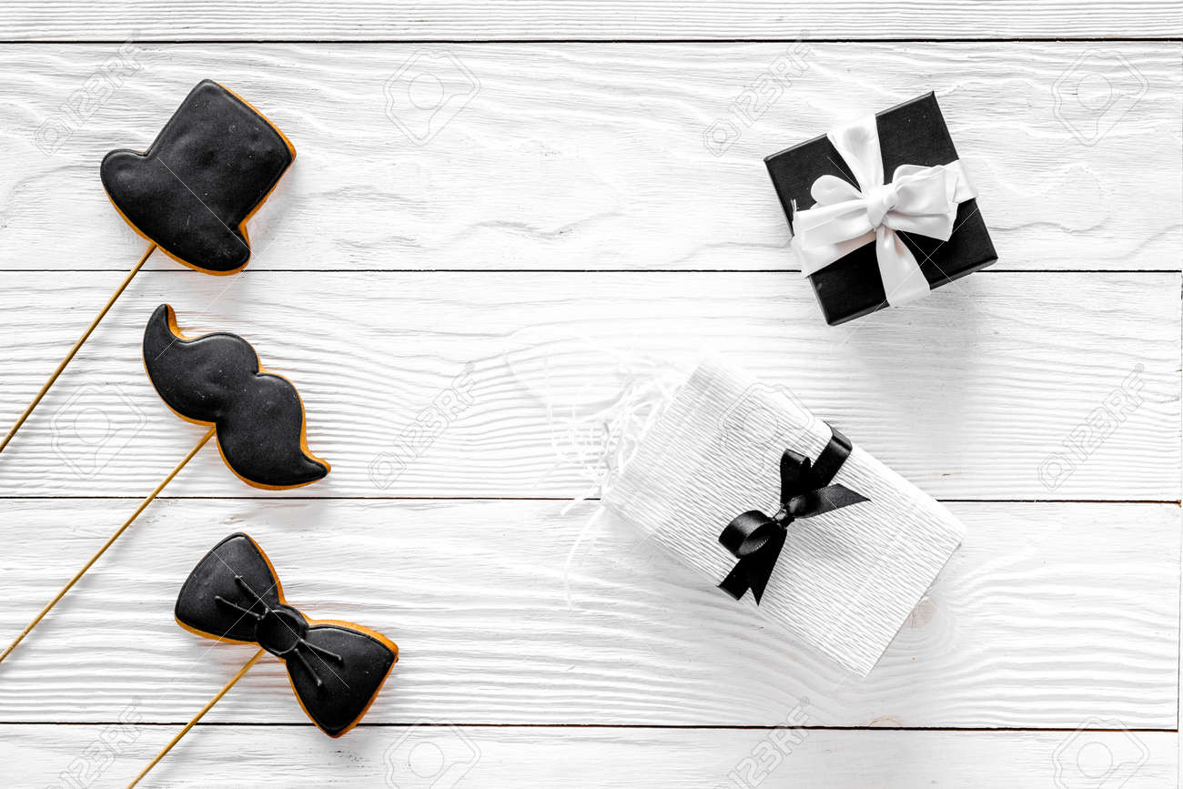 Birthday Gift For Men Wrapped Box Cookies In Shape Of Black