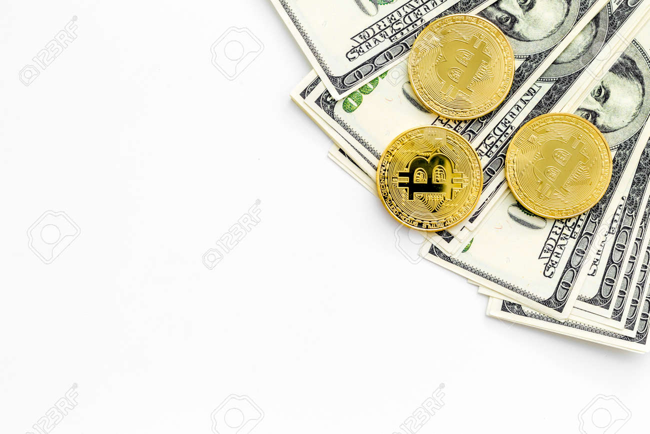 Bitcoin digital money for finance and online buy or sell on white
