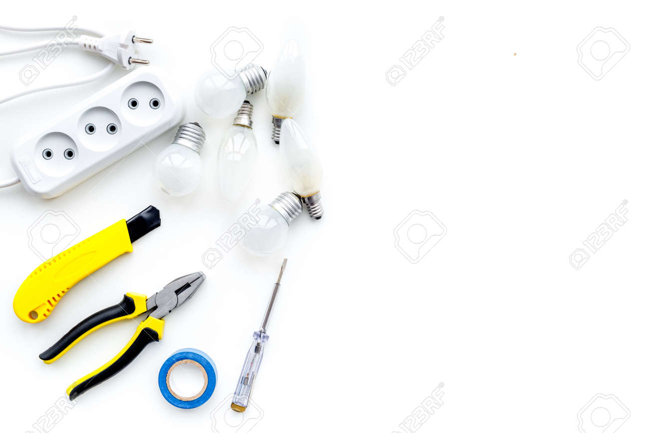Electrical Installation, Wiring Works. Tools And Socket Outlet ...