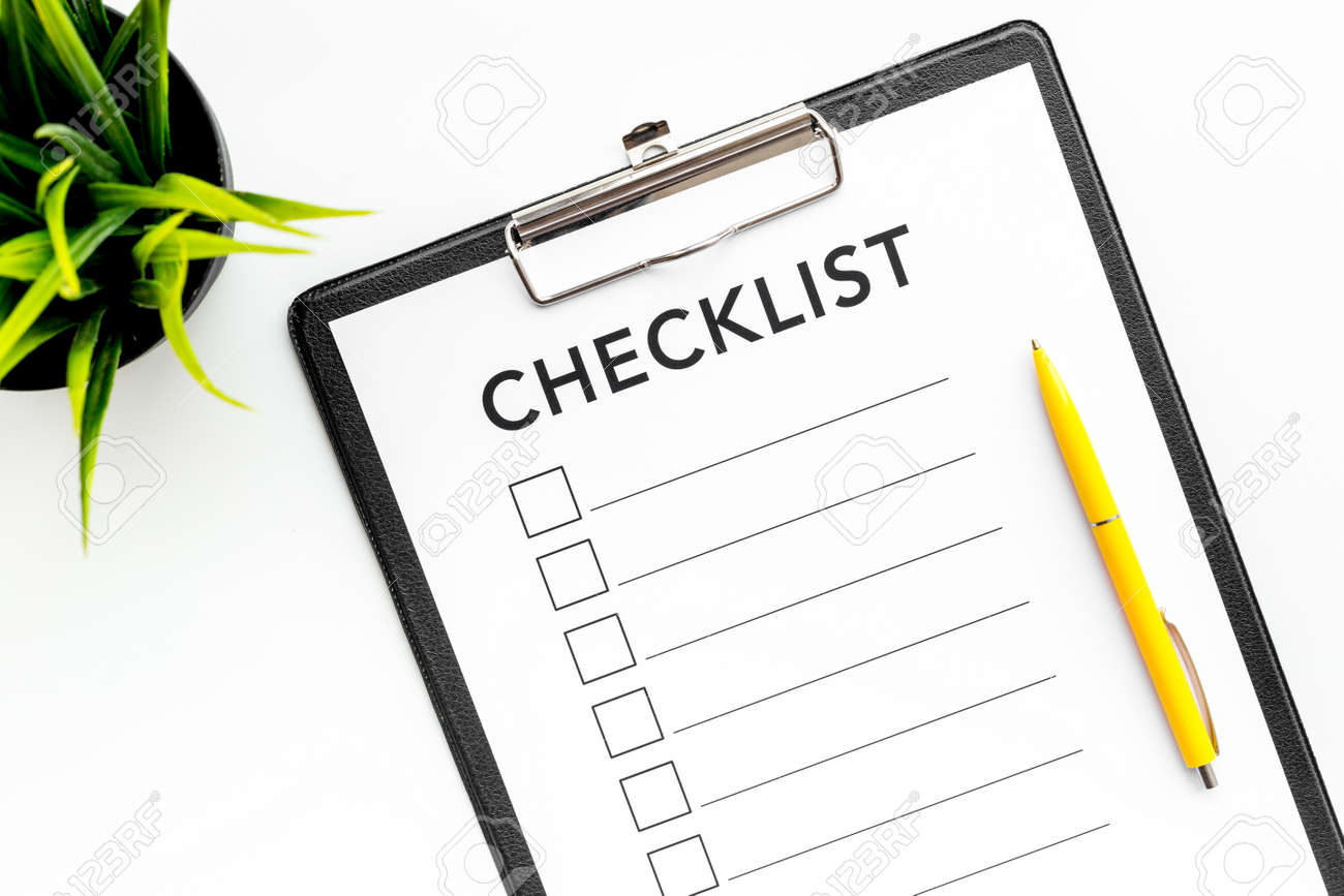 photograph about Blank Checklist named Blank list with area for ticks upon pad upon business office table. List..