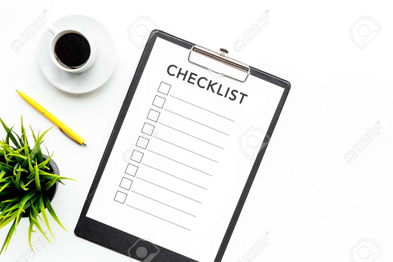 graphic relating to Blank Checklist known as Blank listing with spot for ticks upon pad upon place of work table. List..