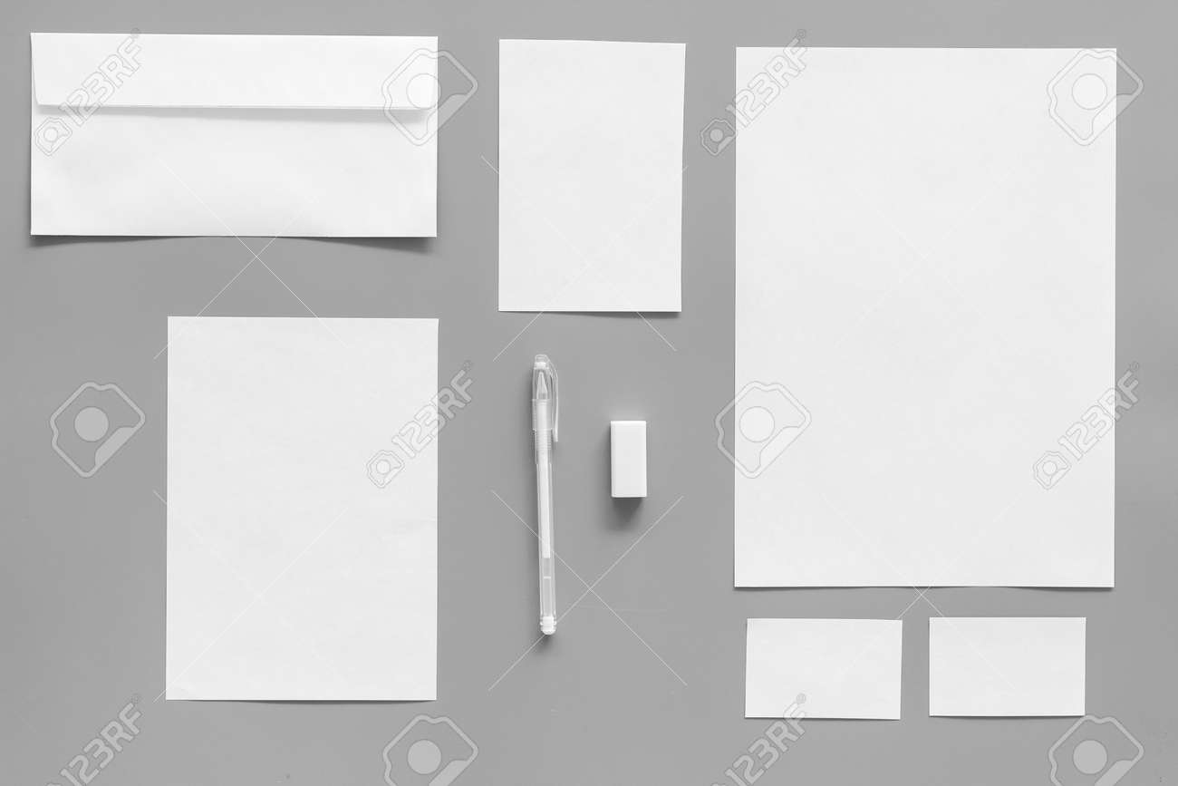 Mockup template for branding identity. White stationery on grey background top view. Pattern - 102333707