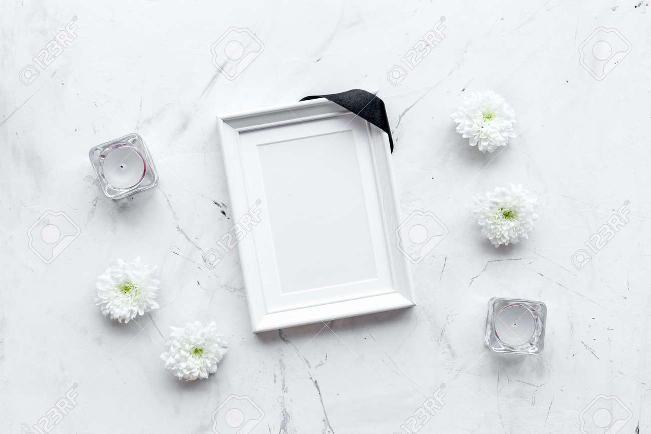 Death Concept Photo Frame Mockup With Black Ribbon Near Flowers