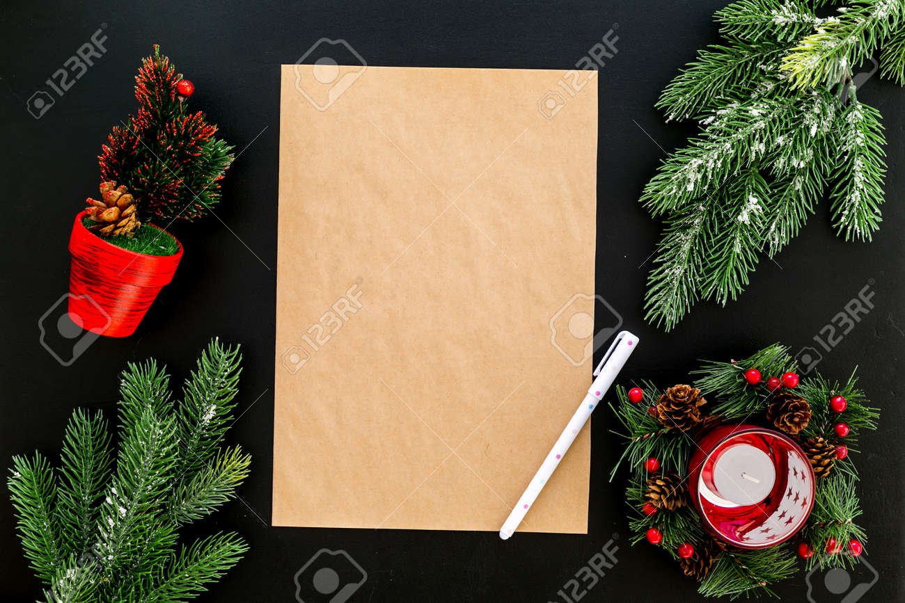 new year or christmas mockup template for letter to santa list of plans and