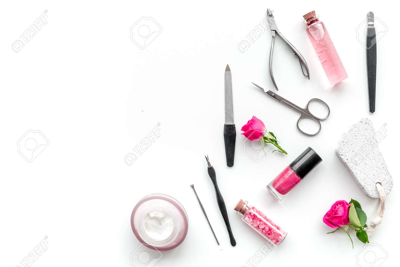 Manicure And Pedicure Equipment For Nail Bar Set On White Table ...