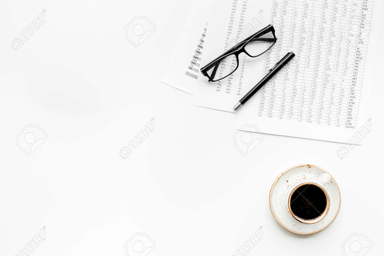 Business lunch with pencil document and black coffee on work