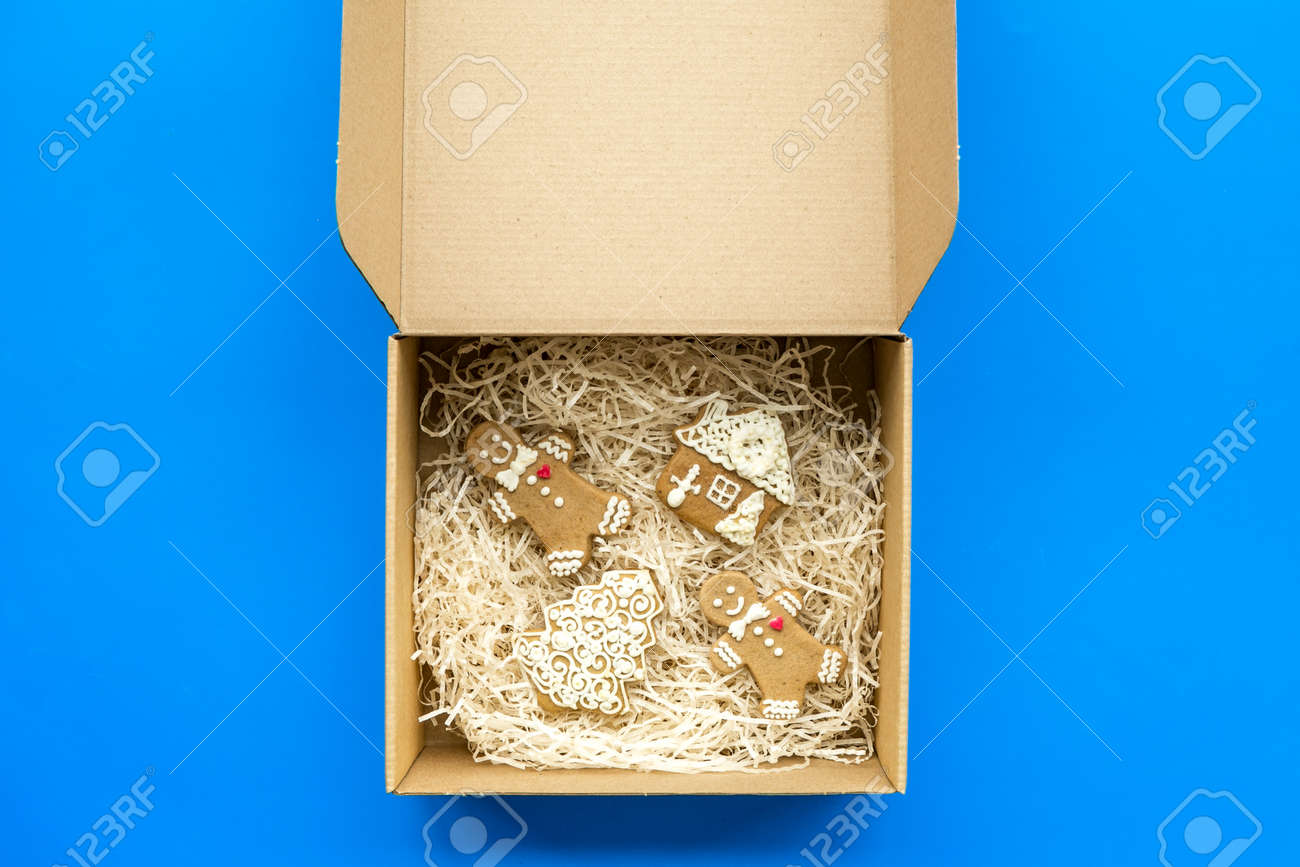Order Goods Online Concept Cardboard Box With Gingerbread Cookies