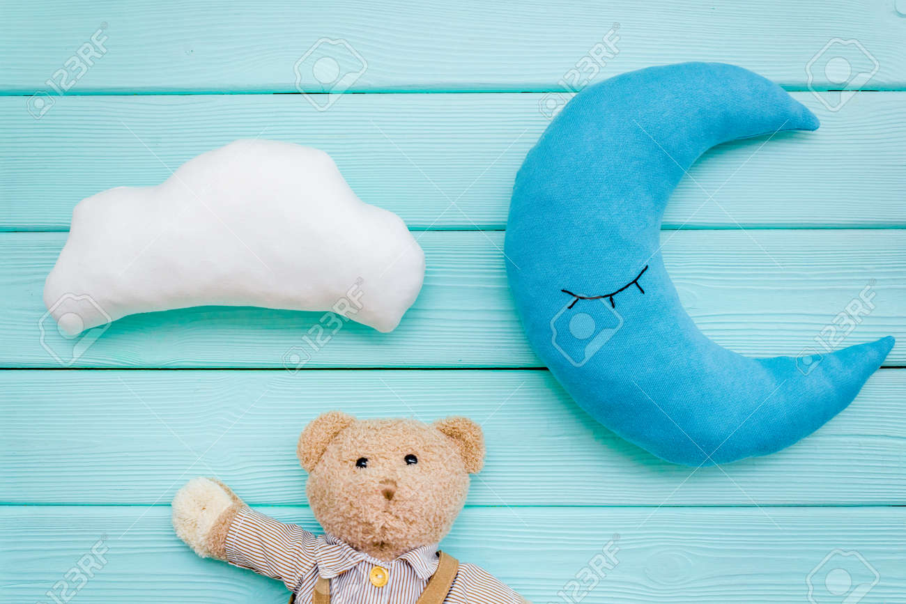 Baby Sleep Pattern With Moon Pillow Cloud Teddy Bear On Mint