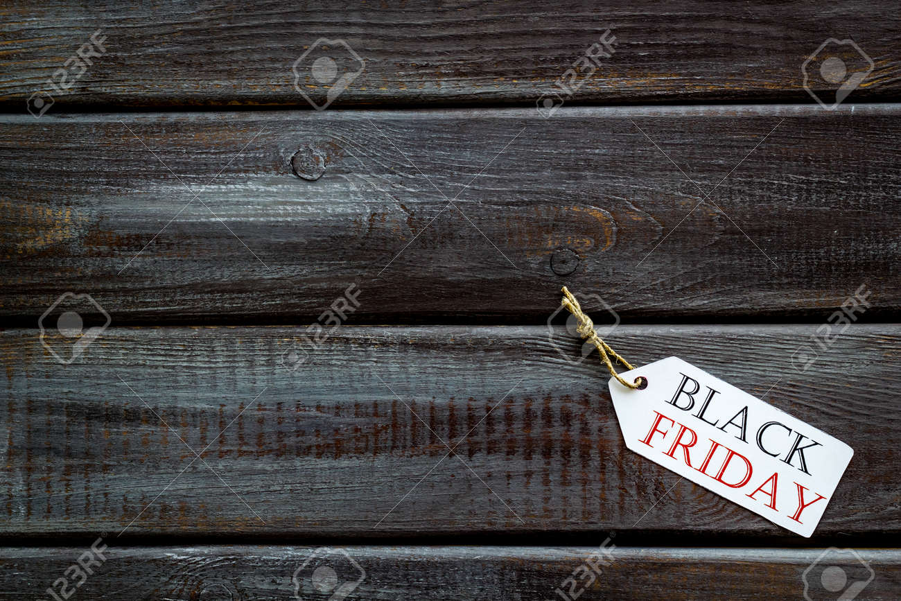 best quality 25ce5 208b1 Black friday in shop with lable on wooden desk background top..