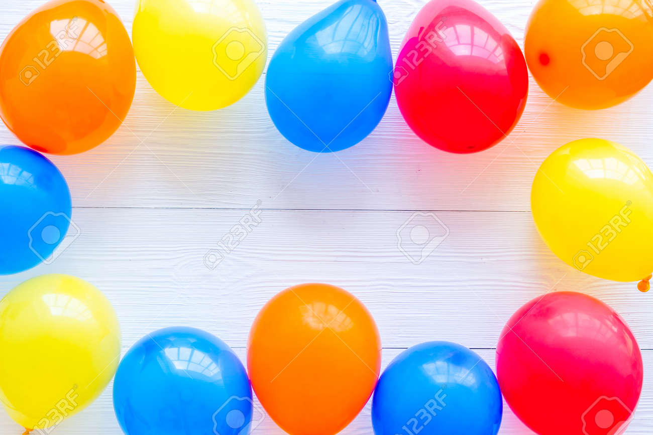 Frame of ballons - celebration concept - from above copy space - 151883131