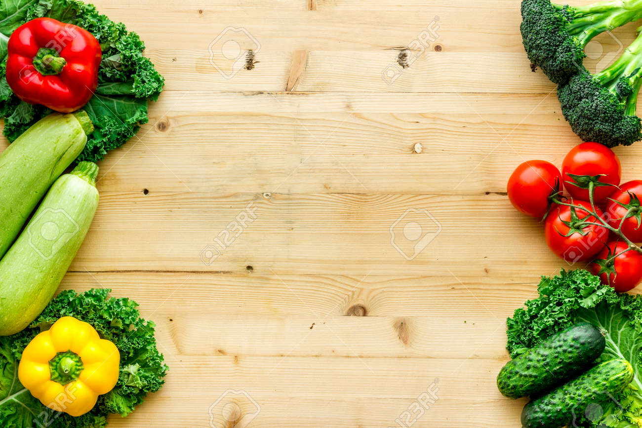 Fresh colorful organic vegetables - farming and healthy food, top view - 153769244