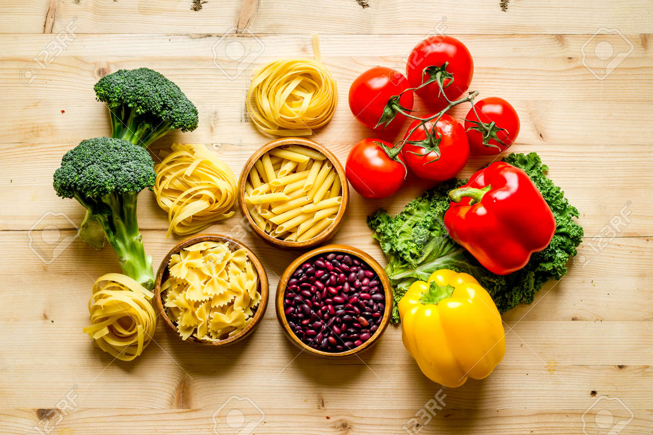Grocery shopping set with vegetables and herbs, top view - 154500741