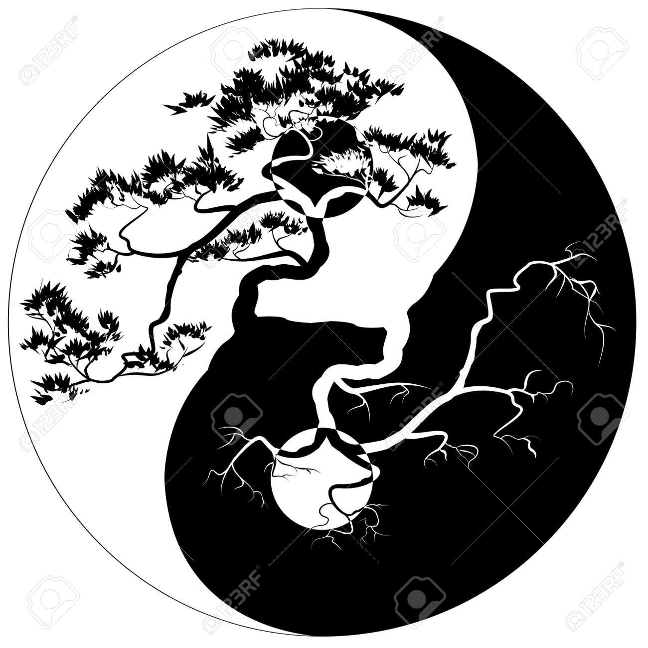 Black and white bonsai tree on the yin yang symbol royalty free black and white bonsai tree on the yin yang symbol stock vector 37392837 buycottarizona Choice Image