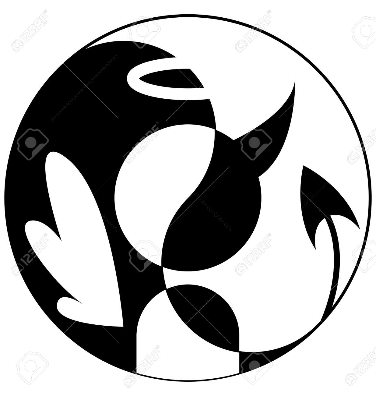 Silhouette Of Angel And Demon In Yin Yang Symbol
