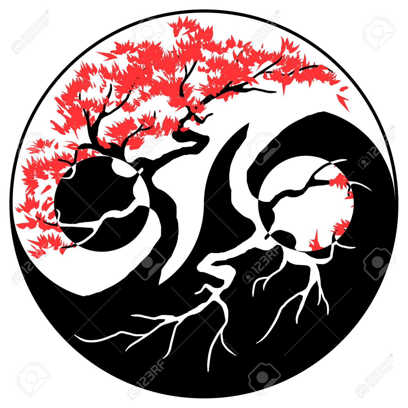 Black and white bonsai tree in the yin yang symbol royalty free black and white bonsai tree in the yin yang symbol stock vector 72407341 buycottarizona Choice Image