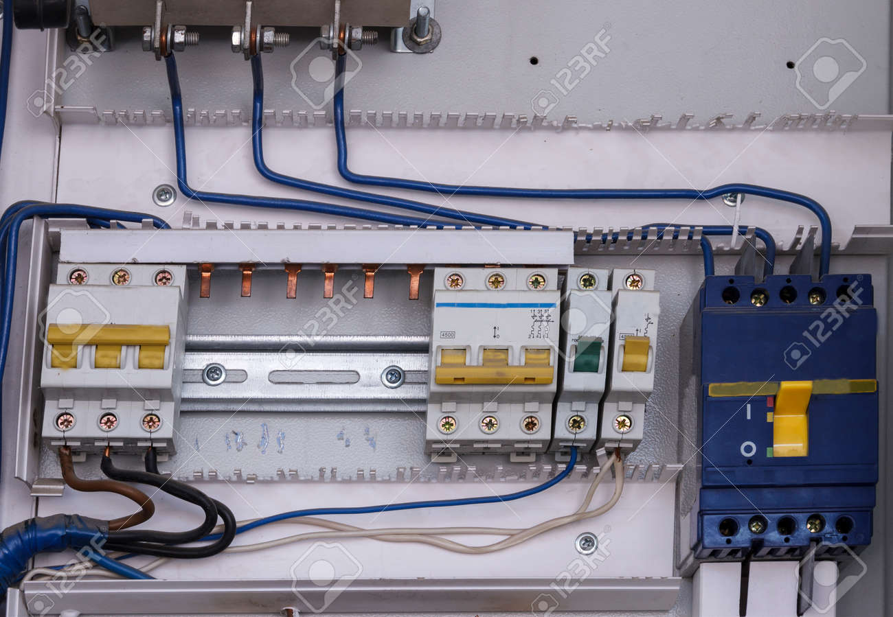 Control Panel With Circuit Breakers For Electric Motor During Electrical Wiring Home Breaker Mantenance Stock Photo 86143077