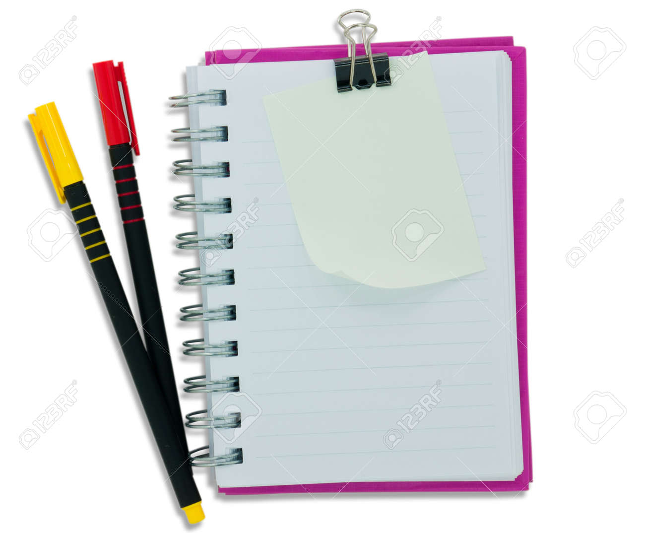 notebook blank page and colour pen stock photo 8183858