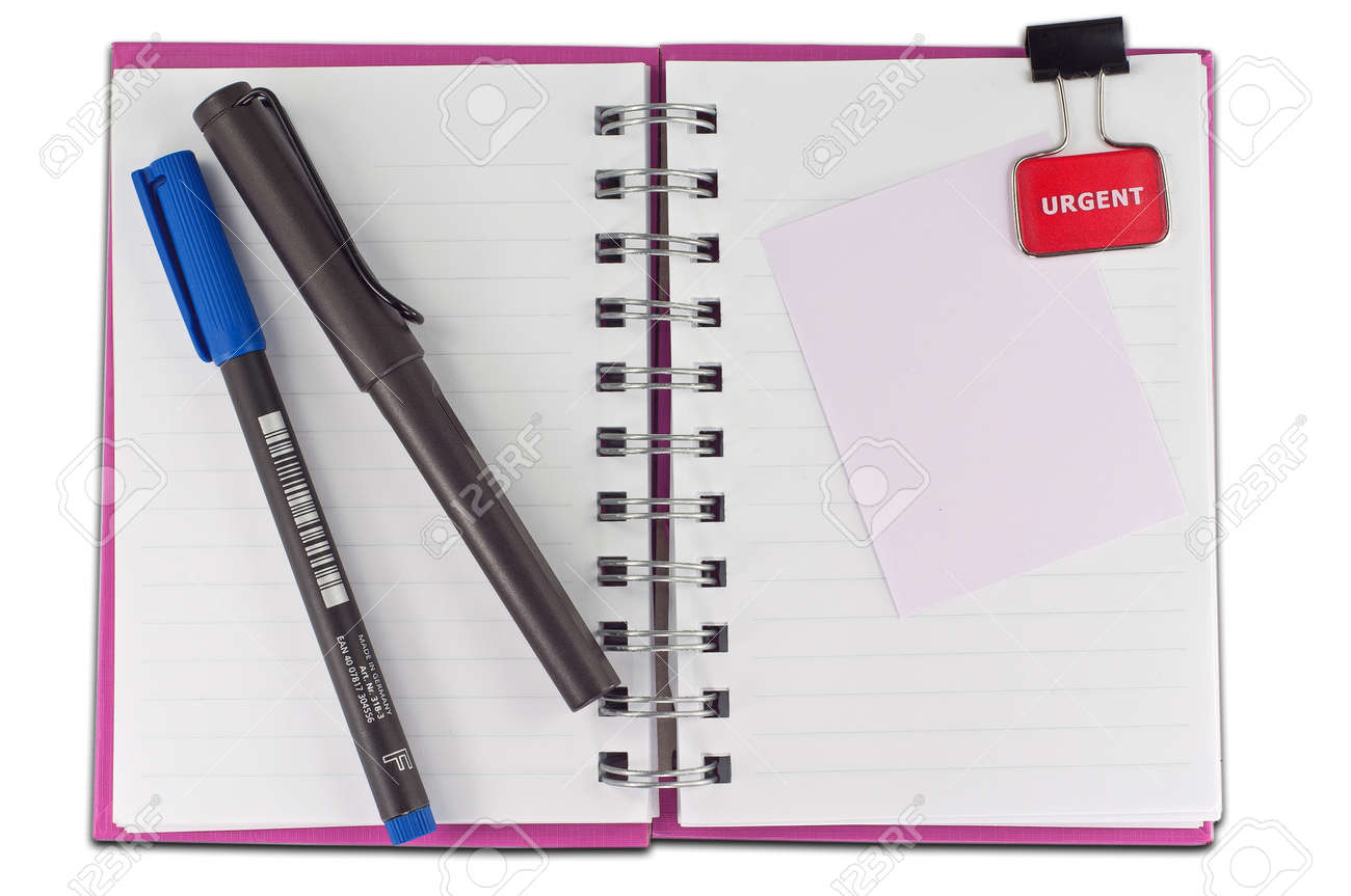 blank page of note book Notebook and office supplies on white isolate,whith cliping path Stock Photo - 8369606