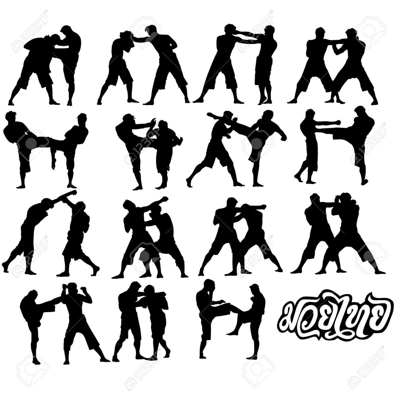 Muay Thai Silhouette Vector Muay Thai Martial Art Vector