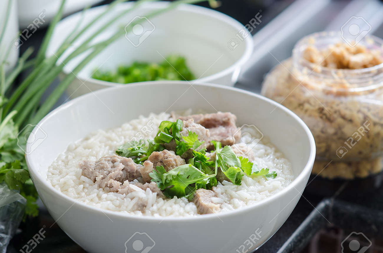 Traditional chinese porridge rice gruel in bow