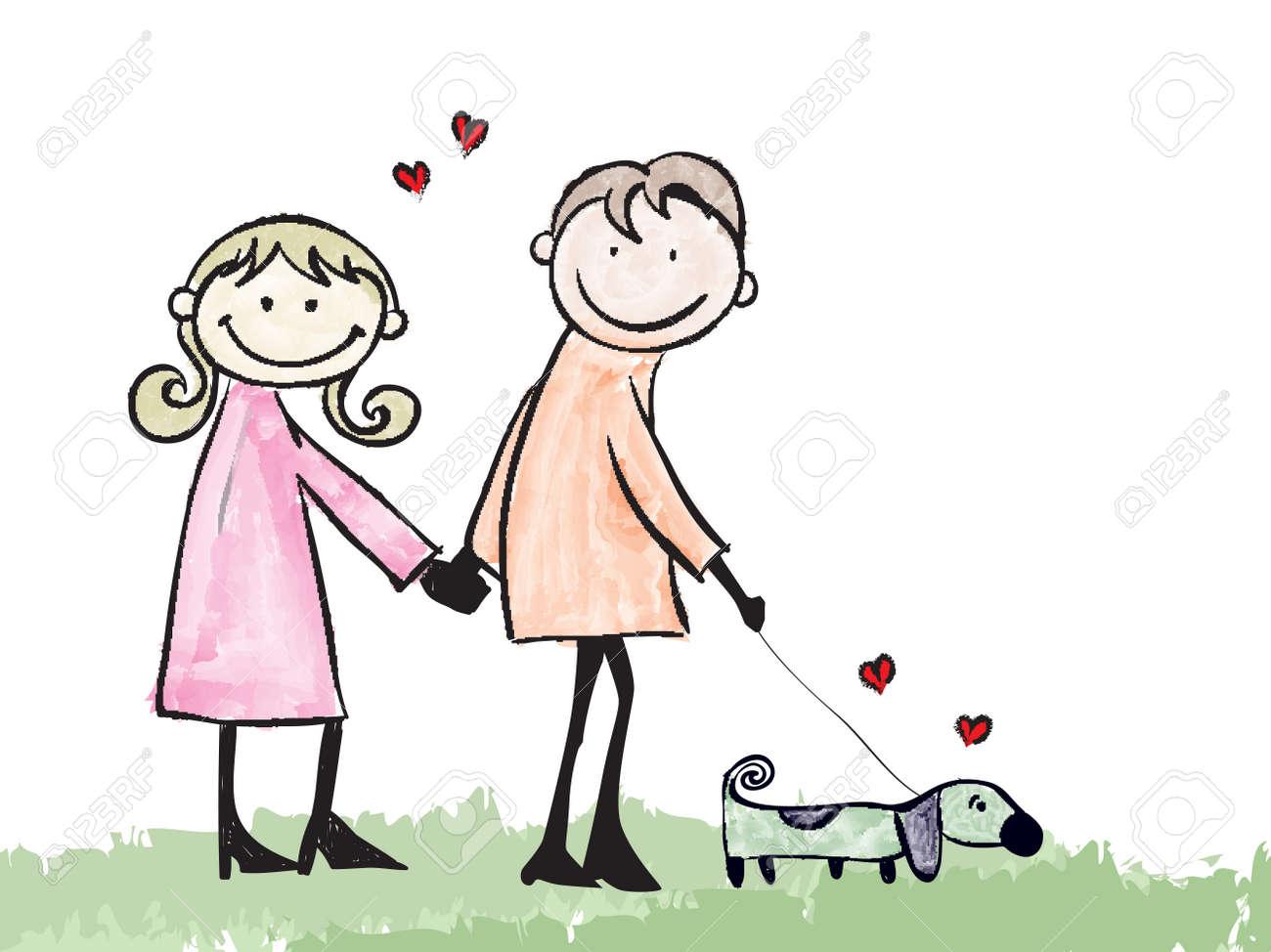 幸せな恋人のカップルとデートの犬漫画イラスト ロイヤリティフリー